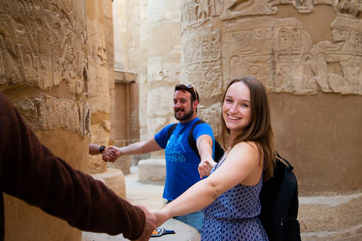 Travellers at Karnak Temple Complex, Egypt