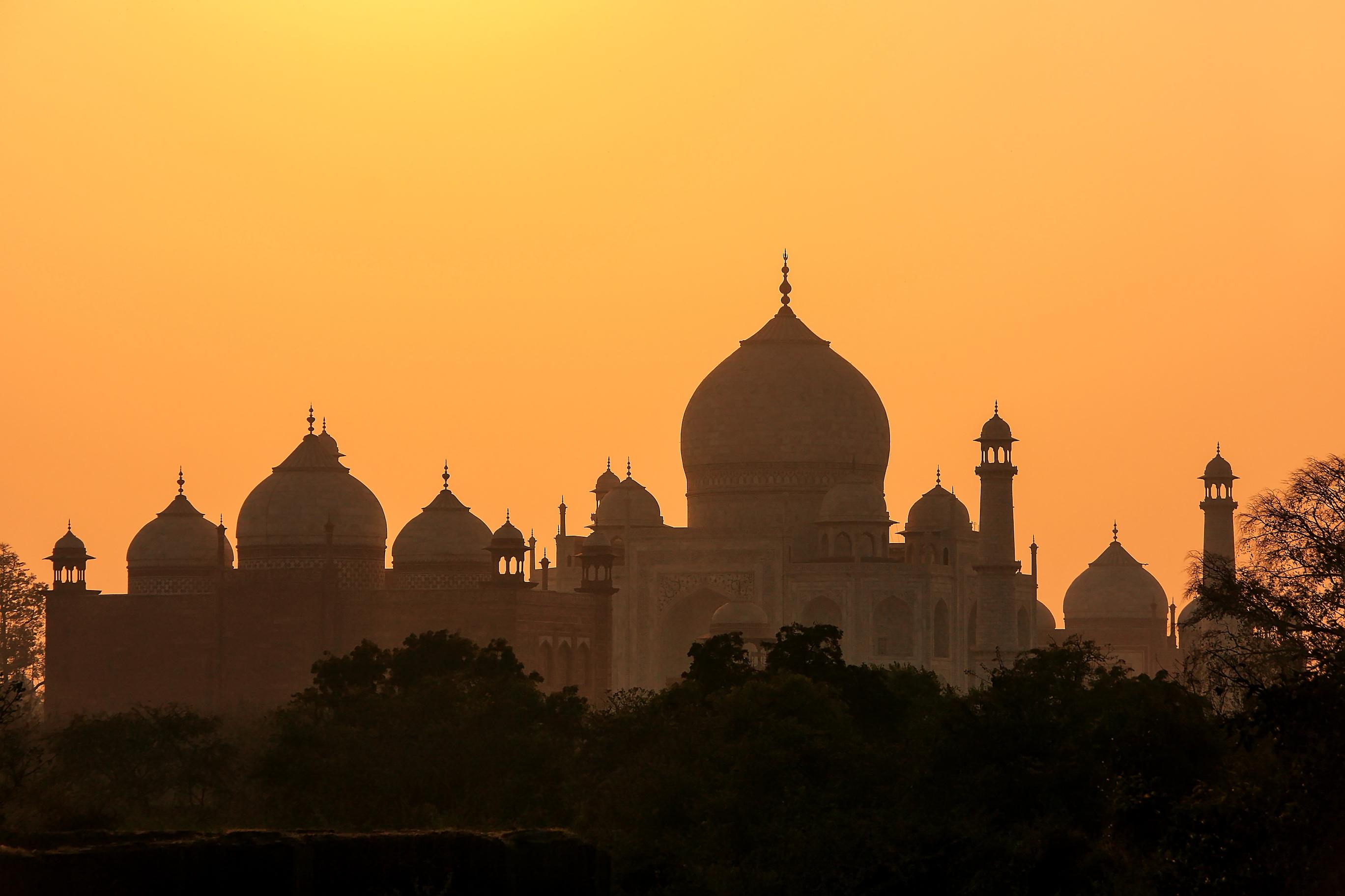 The Taj Mahal bathed in sunset
