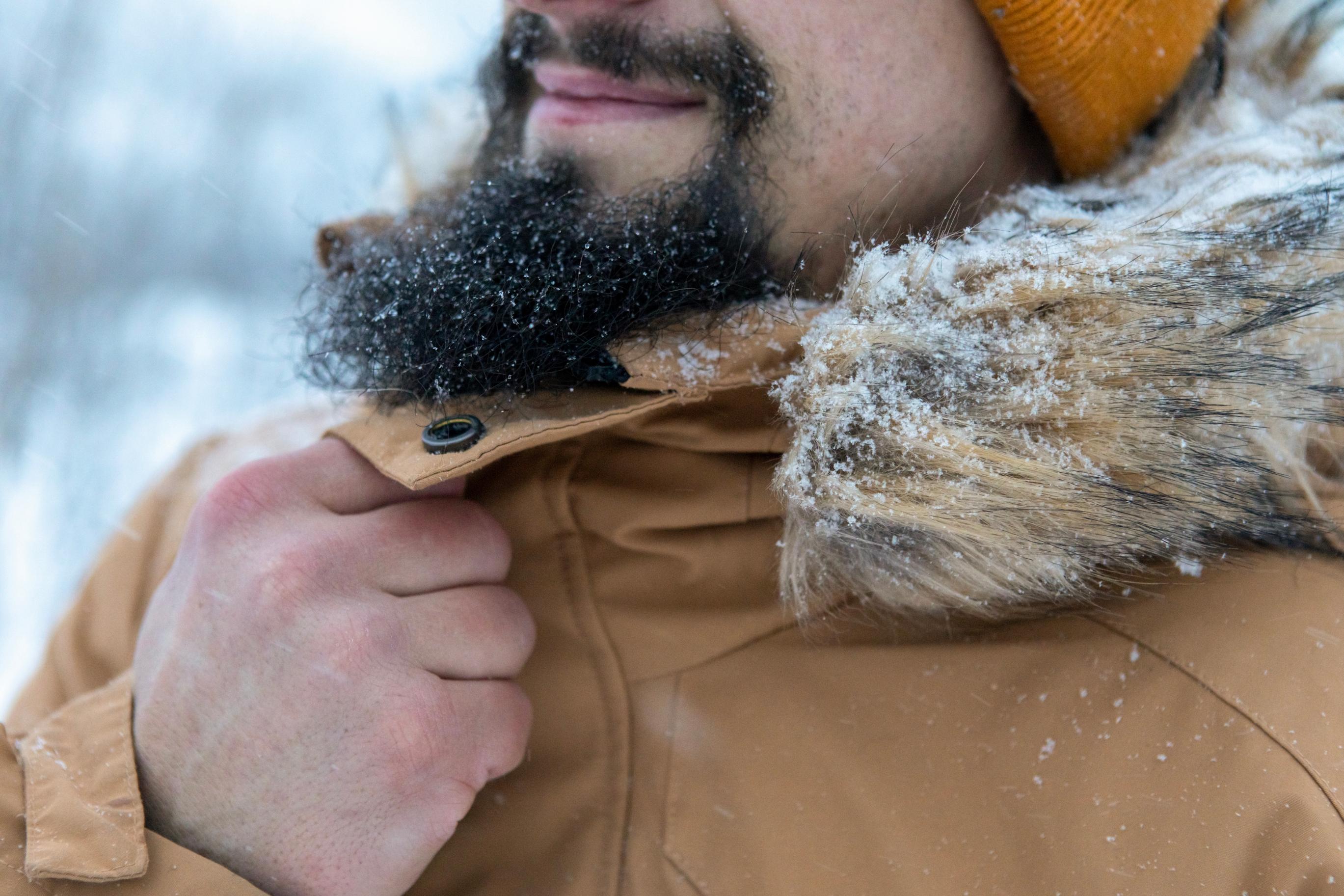 Bearded man in think winter coat