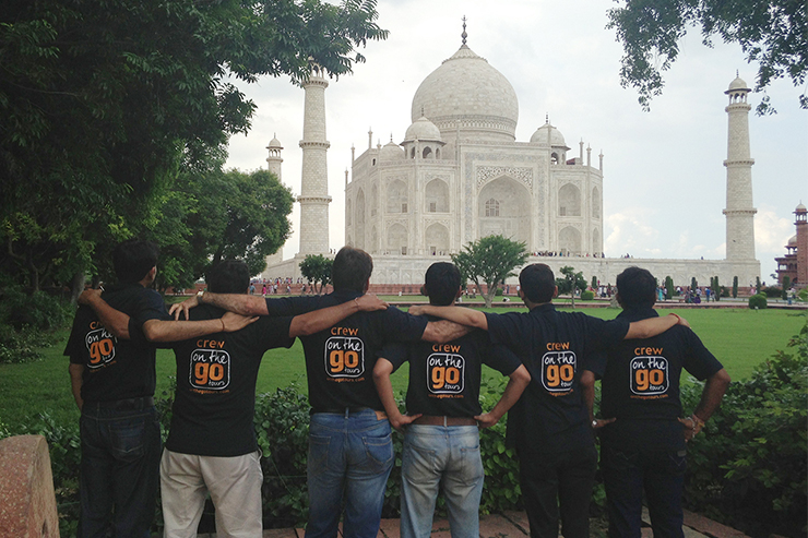 Our guides at the Taj Mahal in India