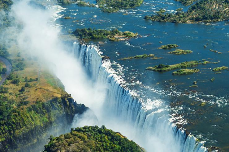 Victoria Falls, on the border between Zambia and Zimbabwe