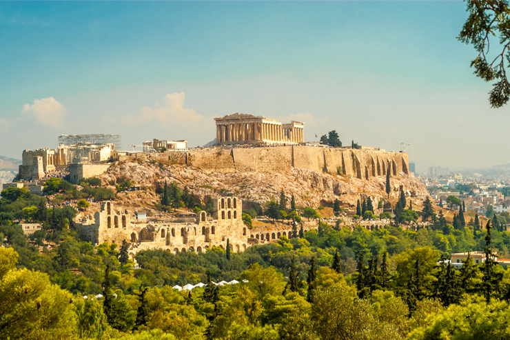 The Parthenon sits at the top of the Acropolis