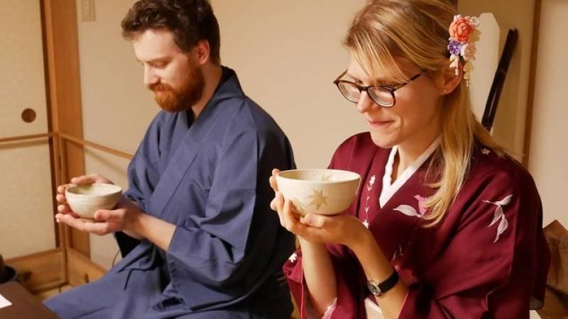 Authentic Tea Ceremony Experience while wearing Kimono in Miyajima