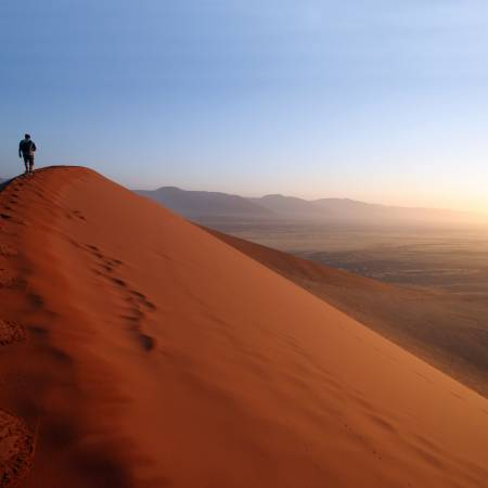 A man on Dune 45 Sossusvlei Namibia