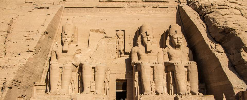 Stone carvings in the side of the mountain at Abu Simbel