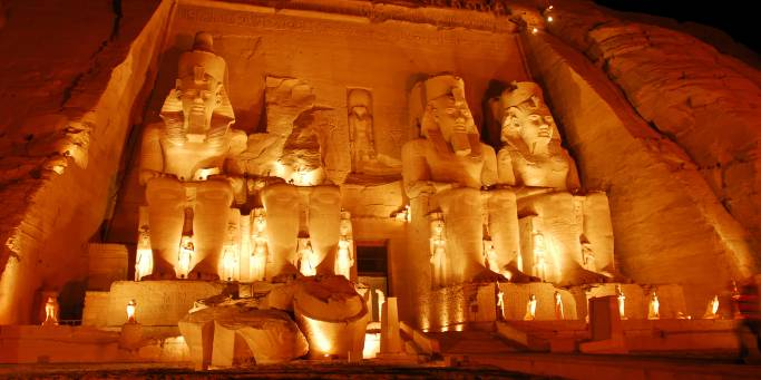 Abu Simbel lit up at night