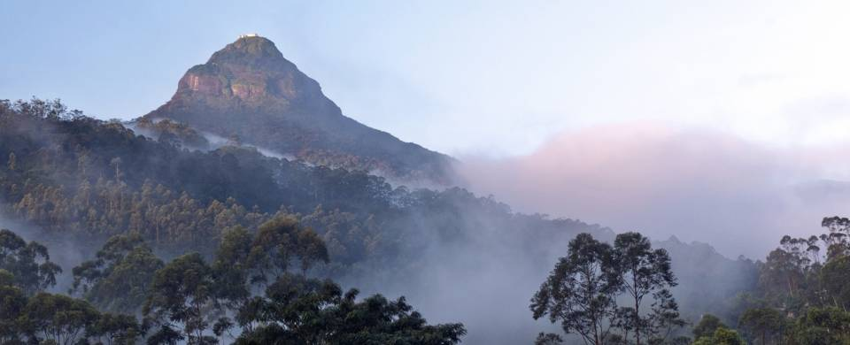 Mist hovering around the base of Adam's Peak in Sri Lank at daybreak