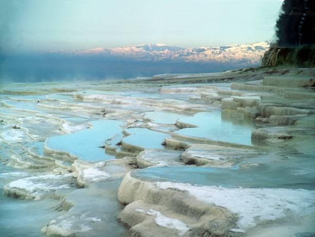 The salt encrusted pools at Pamukkale