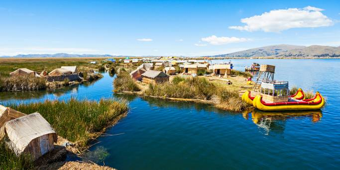 Aerial view of the Uros Islands on Lake Titicaca  | Peru | South America