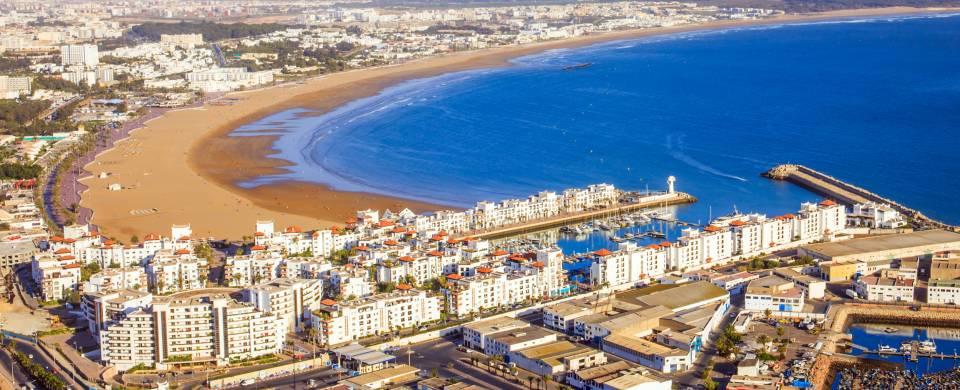 Aerial view of the Agadir coastline