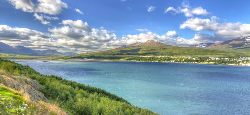 Eyjafjordur, Icelands longest fjord, running alongside Akureyri