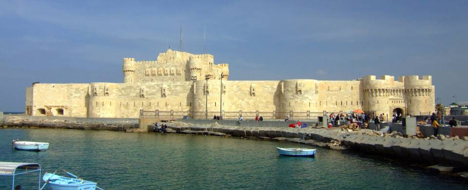 The white fortress of Qaitbay in Alexandria