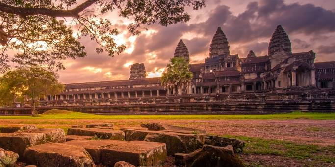 Dramatic sunset at Angkor Wat in Cambodia