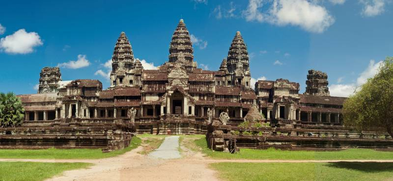 Panoramic views of the spectacular Angkor Wat temple near Siem Reap in Cambodia