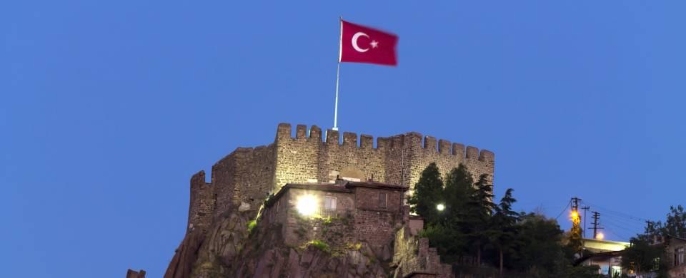 Ankara Castle with Turkish flag on top in Ankara