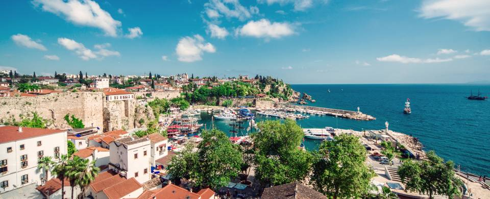 View of the city and the sea in Antalya