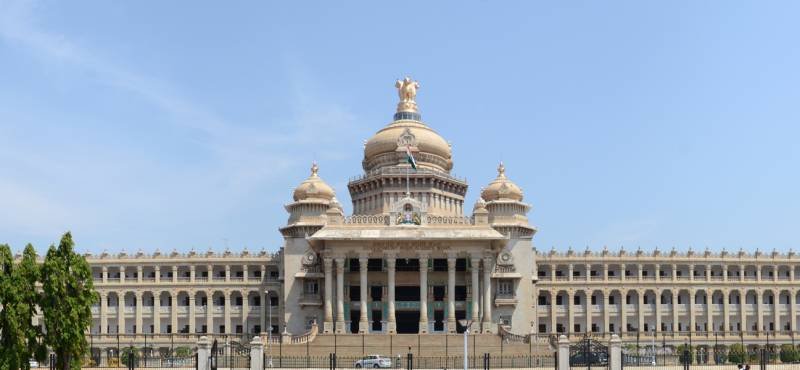 Panoramic view of Vidhana Soudha, the seat of Karnataka`s legislative assembly located in Bangalore,