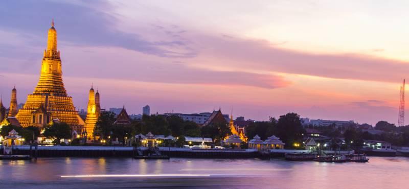 The city of Bangkok at sunset