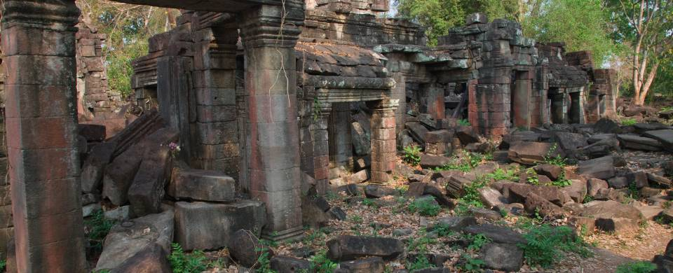Ancient, crumbling ruins, surrounded by wilderness in Banteay Chhmar