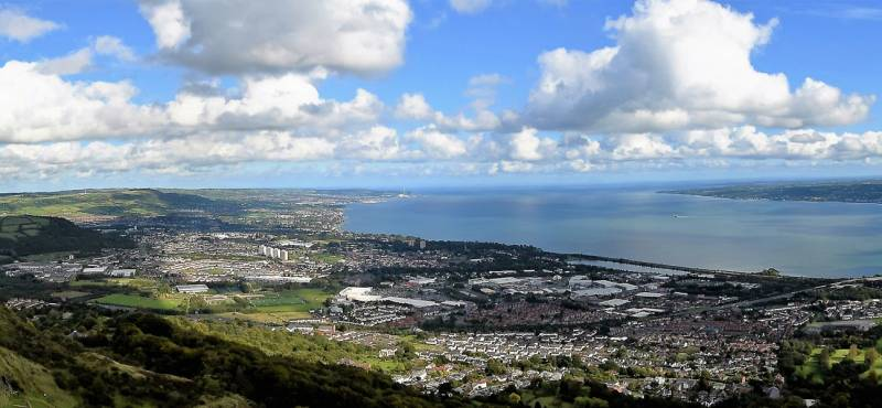 Panoramic view on Belfast Lough in Northern Ireland