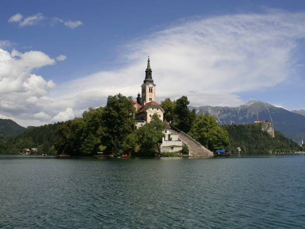 An arial view of the islet in the centre of Lake Bled
