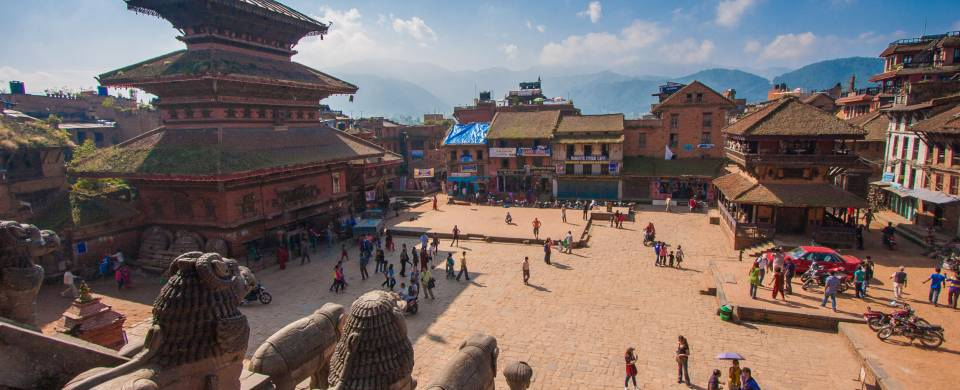 The famous Durbar Square in Bhaktapur, home to numerous beautiful temples