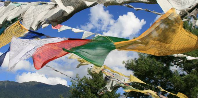 Prayer flags fluttering in Bhutan