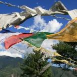 Prayer flags fluttering in Bhutan