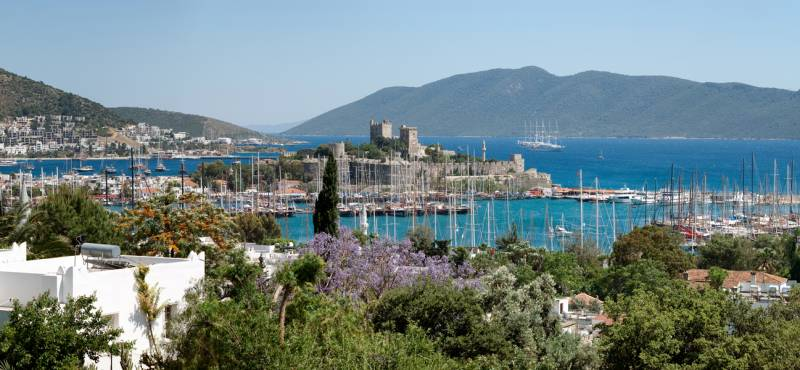 Panoramic view of Bodrum, one of Turkey's popular seaside resorts where day tours are available to P