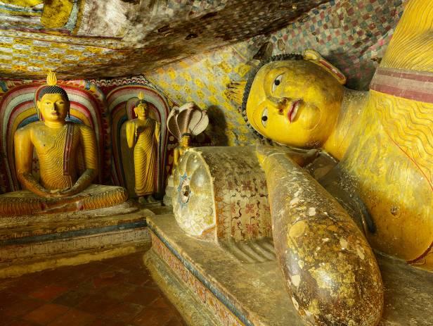 Iconic rock sitting among lush vegetation in Sigiriya