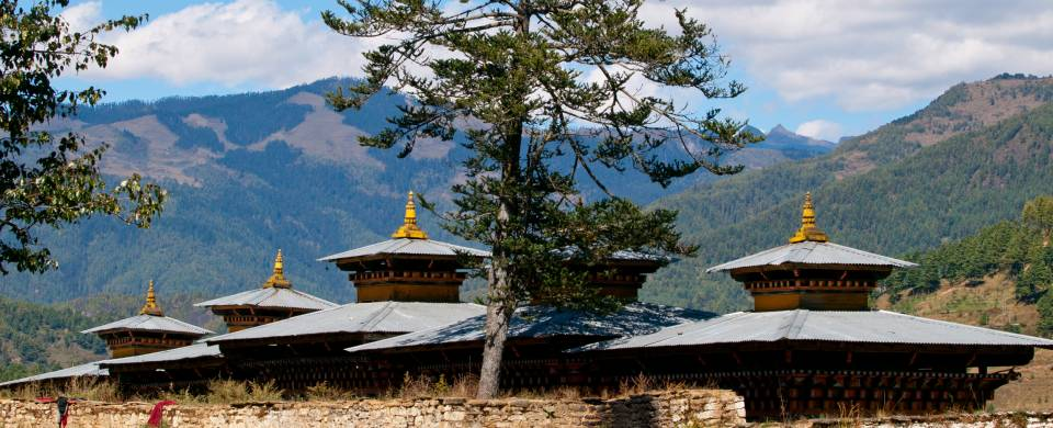 Beautiful monastery nestled in a valley in the Bumthang region