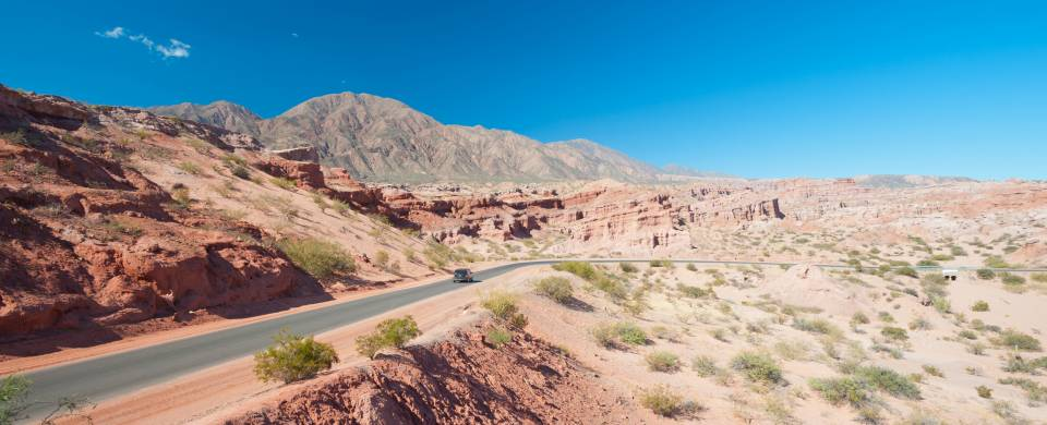 Road stretching out across the barren landscape of Cafayate