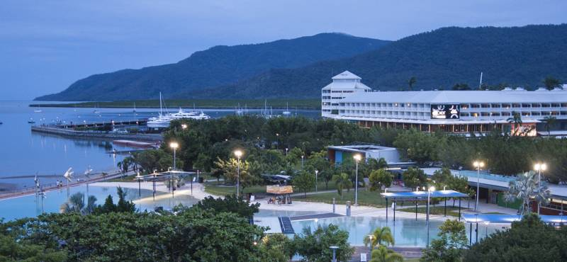 View of Cairns Esplanade and Lagoon at dusk