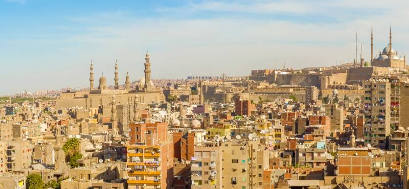 Panoramic view of Cairo city and its rooftops in Egypt