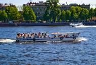 Sightseeing canal boat in St Petersburg