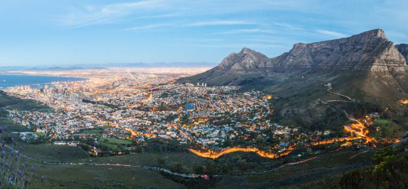 A panoramic view of Cape Town and Table Mountain in the background