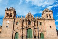 The imposing facade of the Catedral in Cuzco