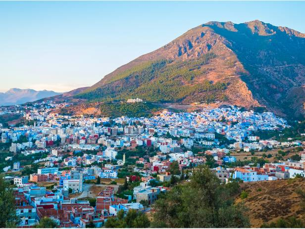 The blue painted houses of Chefchaouen's medina