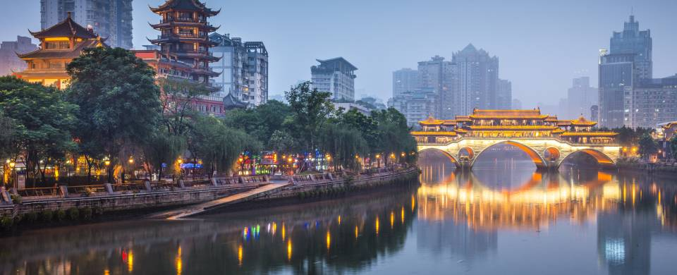 The riverside view of Chengdu city with Anshun bridge beautifully illuminated