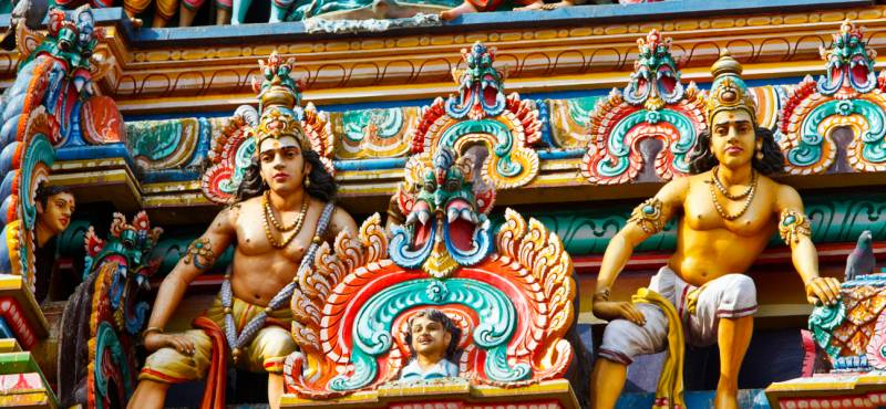 Detail of the colourful Hindu temples of Chennai in India