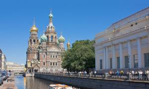 Church on Spilled Blood with boat in St Petersburg - Russia Tours - On The Go Tours