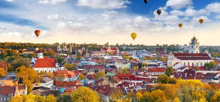 Cityscape of Vilnius with hot air balloons