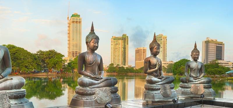 Panoramic view of Seema Malaka temple on Beira Lake in Colombo, Sri Lanka