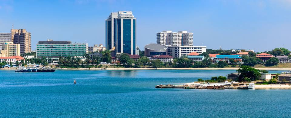 View of Dar es Salaam from across the water
