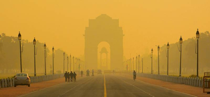 A view of India Gate and the road leading up to it in Delhi capital of India