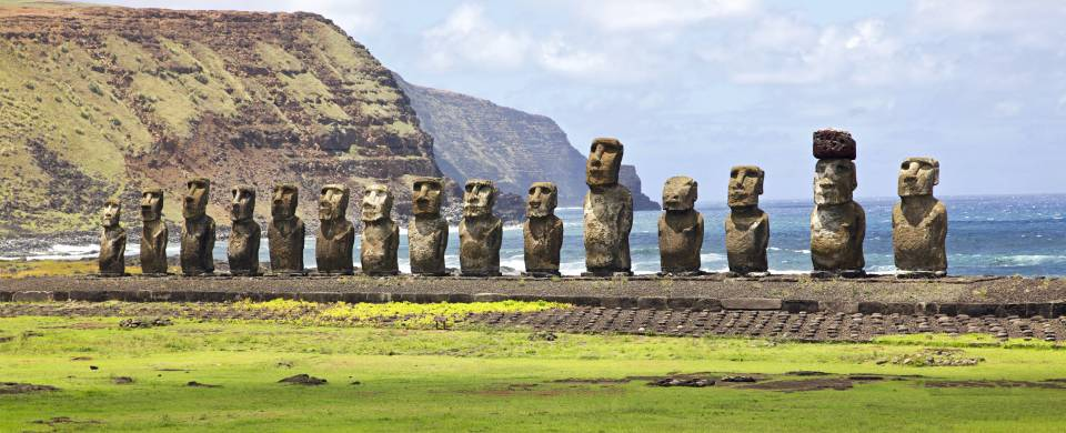 A row of moai statues on Easter Island