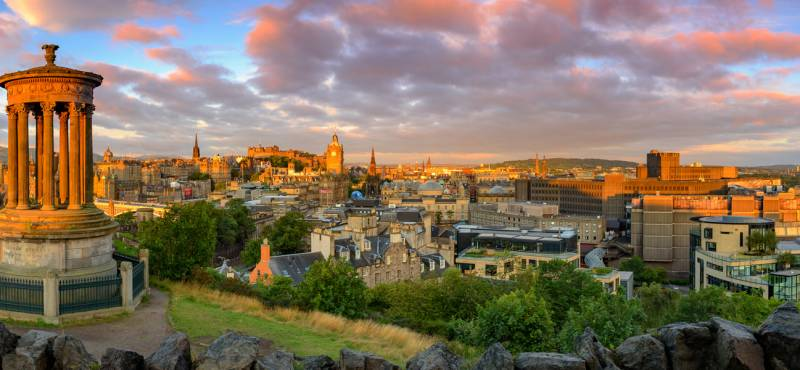 Panoramic view of Edinburgh castle from Calton Hill, Edinburgh, Scotland