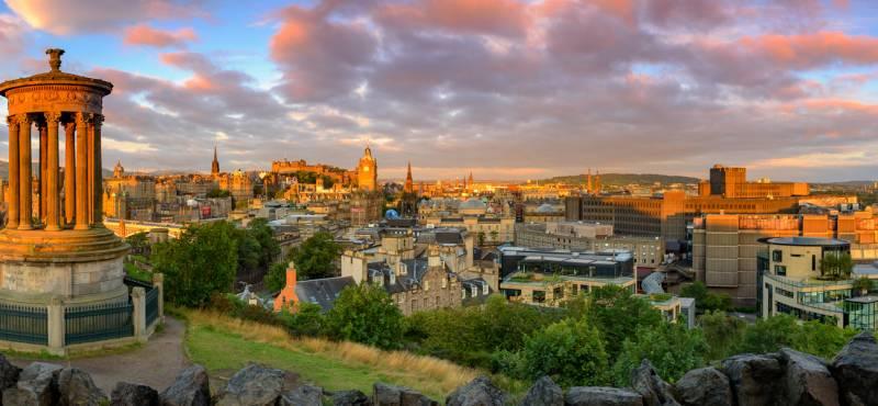 Panoramic view of Edinburgh castle from Calton Hill, Edinburgh, Scotland