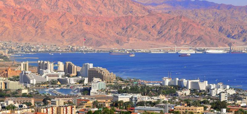 The rugged landscape that surrounds the popular seaside resort of Eilat