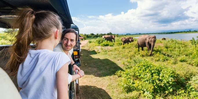 Family spotting elephants in Udawalawe National Park | Sri Lanka
